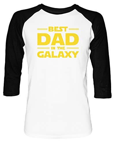 Best Dad in The Galaxy Herren Damen Unisex Baseball T-Shirt Weiß Schwarz 2/3 Ärmel Women's Men's Unisex