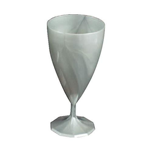 Adiserve Verres à vin mariage plastique jetables pour mariage Couleur argent Lot de 6