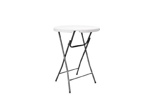 Table table haute mange-debout 110 cm de haut et 80 cm de ø pliable plastique/acier blanc nouveauté