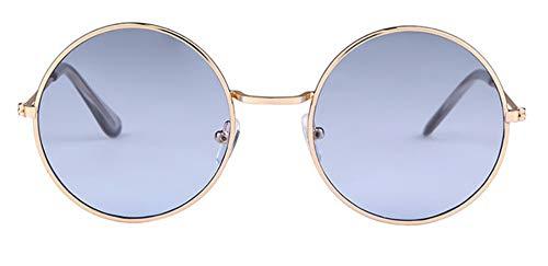 WSKPE Sonnenbrille Frauen Bunte Runde Sonnenbrille Kreis Rosa Linse Klein Sonnenbrille Tönung Schattierungen (Blaue Linse)