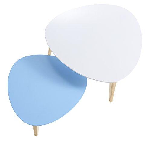 Demeyere 204996 Stone Set de 2 Tables Basse Bois MDF/Pin Massif Blanc/Bleu 60 x 60 x 28 cm