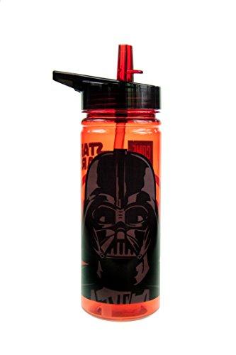 Star Wars transparente Trinkflasche mit integriertem Strohhalm 600 (3 Alle Kostüme Ac)