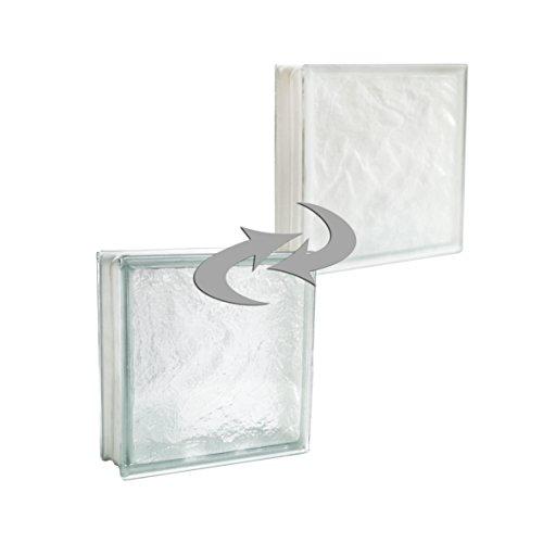 2 pezzi Fuchs Vetromattone Iceberg Bianco Satinato un lato (vetro opalino) 30x30x10 cm