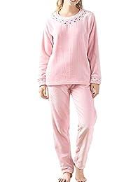 QINJLI Bordado de Invierno de Las Mujeres Pijamas Espesado cálida Franela Manga Larga Pijama Dulce Belleza
