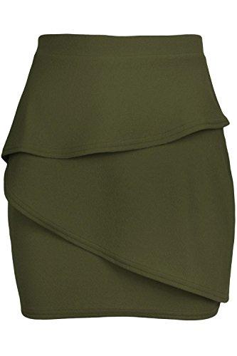 Fashion Star Womens Peplum Ruffle Frill Elasticated Waist Ladies Pencil Bodycon Mini Skirt