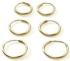 3 par Premium chapado en oro Juego de plata de ley pendientes de aro Endless tamaño pequeño para el cartílago de la, nariz, labios, 10 mm 12 mm 14 mm