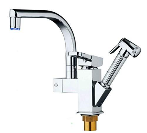 Wasserhahn Spulen Gebürsteter Nickel Spüle Logisküchen-Led-Lichtmixer Einzelhalter Küchenhahn Poliert Verchromt Pull-Out-Mischbatterie