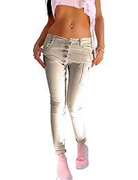 ead94a68896bcb Damen Push Up Stretch Skinny Jeans Hose in beige mit Langer schräger  Knopfleiste verwaschen