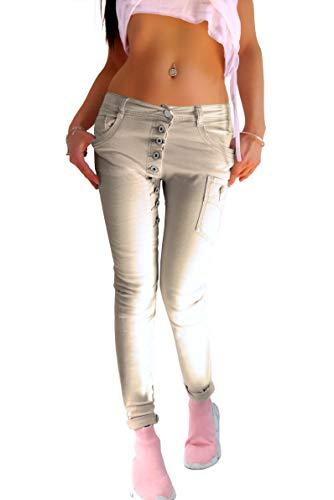 Damen Push Up Stretch Skinny Jeans Hose in beige mit Langer schräger Knopfleiste verwaschen, Größe:M