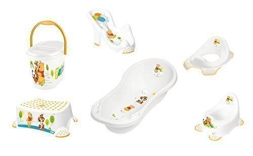 6er Set Winnie Pooh weiß Badewanne XXL 100 cm + Badesitz + Töpfchen + WC Aufsatz + Hocker + Windeleimer Neu