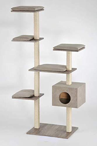 Silvio Design Katzen-Kratzbaum Cosy mit Sanremodekor, Kissen Sand, ca. 50x110x175 cm