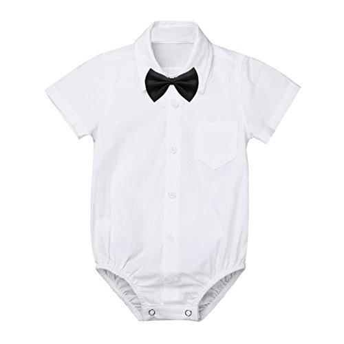 iEFiEL Baby Jungen Hemdbody mit Kragen und Fliege Langarm/Kurzarm Bodysuit Baumwolle Strampler Weiß Hemd Bluse für Kleinkinder Weiß Kurzarmbody 74 (Hemd Weißes Fliege Mit)