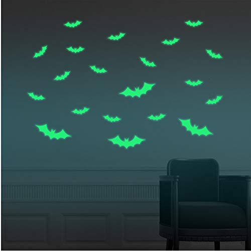 Asade Happy Halloween Bats Luminous Household Room Wall Sticker Mural Decor Arts Decal Removable New Children Room Home Decoration DIY