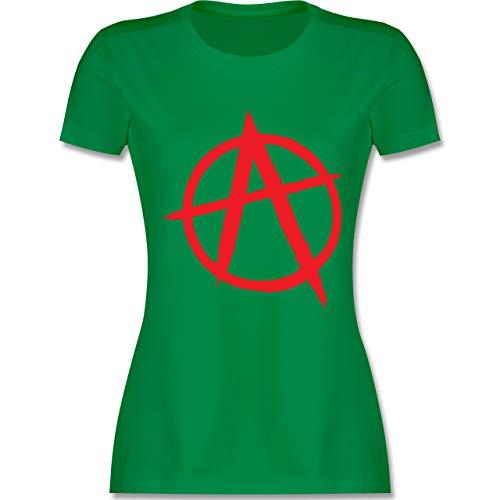 Festival - Anarchie A rot - XXL - Grün - L191 - Damen Tshirt und Frauen T-Shirt (Anarchie-shirt Für Frauen)