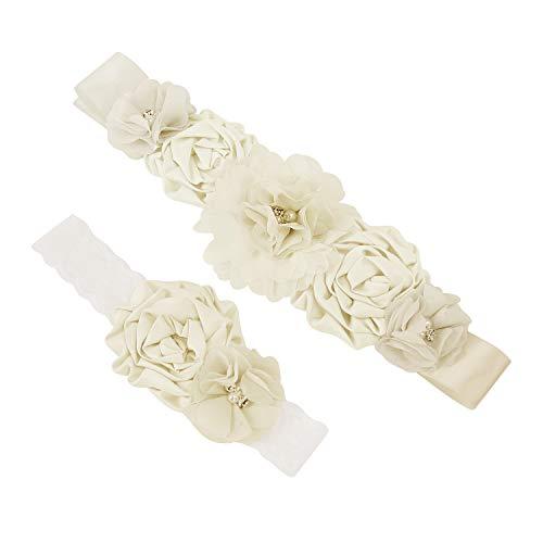 Afinder Guirnalda de flores para novia, diadema con halo, cinturón, accesorio para el pelo con faja Marfil Talla única