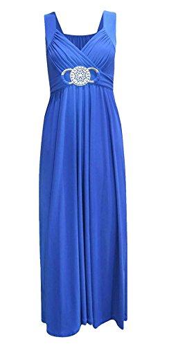 Maxi-kleid Blau Plus Größe (Neue Womens Plus Größe Buckle Bund Raffhalter Abend Lang Maxi Kleid Größe 44-54 - Blau, EU 40/ 42)