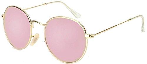 U.S. Crown Round Unisex Sunglasses(Us-Crown-Round-Metal2|50|Golden Frame, Mirrored Pink)