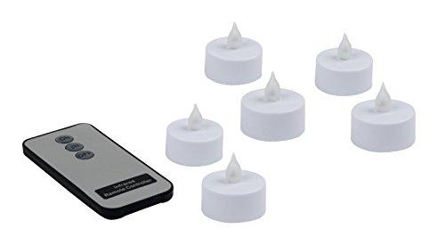 Heitronic LED té luz vela de té LED con luz titilante como set 6y mando a distancia