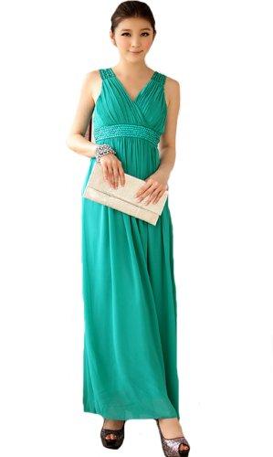 HOT seller Cocktail Prom dress-Abito da sera lungo con scollo a V abito da sposa abito da sera in Chiffon Vestito sexy spalle malachite green XX-Large