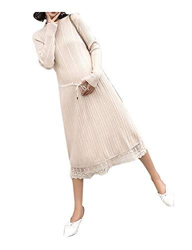 Elegante Mutterschaft Stricken Kleid Frauen Herbst Winte Schwangeren Lange Pullover Lose Kleidung Große Größen Locker Umstandsmode Maxikleid Schwangerschafts (Color : Beige, Size : One Size) - Stricken Mutterschaft Pullover
