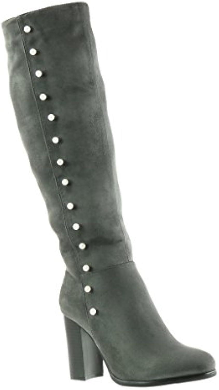 Angkorly - Zapatillas de Moda Botas cavalier mujer perla Talón Tacón ancho alto 9 CM - plantilla Forrada de Piel