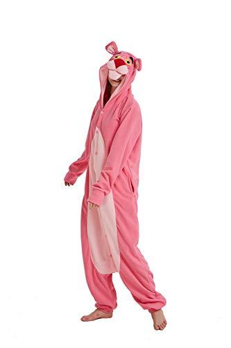 SSM Unisex Erwachsene Pyjama Jumpsuit, Plüsch Onesie Einteiler Panther Tier Kostüm, Cosplay Halloween Karneval Bär L