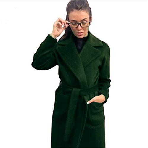 IOSDH8 Kragen Langen Mantel Elegante Winter Frau Mischung Mäntel schlanke Art weibliche Taschen Mantel Oberbekleidung, grün, M - Wolle-mischung Military Mantel
