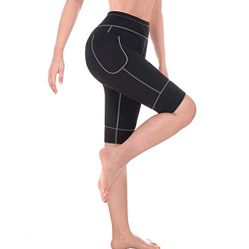 Shujin Damen Leggings Neopren Schwitzhose Zum Training High Waist Lange Hose oder Capri Hose Fitness Yoga Hose Body Shaper Abnehmen Schlanke Fitnesshose