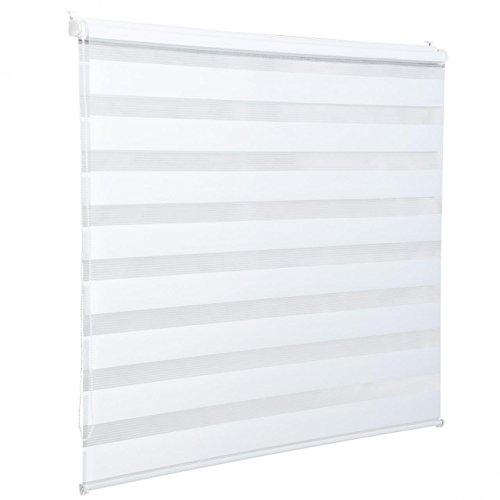 Homelux Doppelrollo Duo-Fensterrollo Klemmträger Kettenzug Seitenzug 50 x 100 cm Weiss - 2