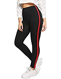 ab8494bbb9e200 DIDK Damen Leggings Gestreift Kontrast Fitnesshose Hohe Taille Yogahose  Sporthose