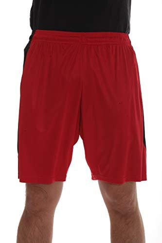 At The Buzzer Herren Active Athletic Basketball Shorts mit Taschen - Rot - Mittel