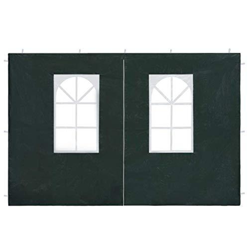 nishore 2pz pareti laterali per gazebo da giardino,parete per tendostruttura in pe 2 pz con zip verde 300 x 195 cm