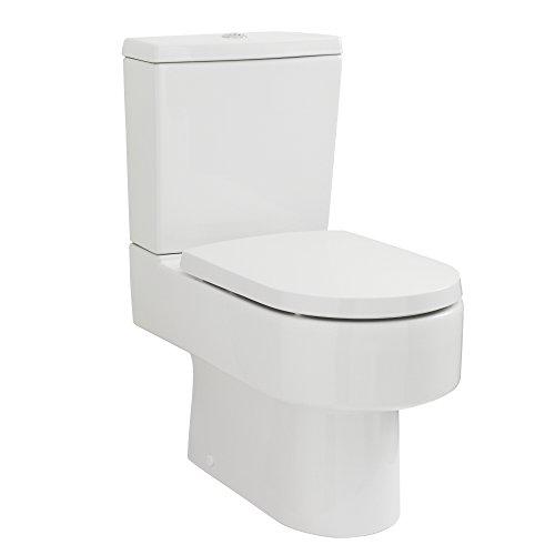 Hudson Reed Inodoro WC de Pie Moderno con Salida Horizontal con Cisterna y Tapa
