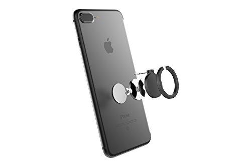 Kronya® | 360° drehbarer Smartphone Fingerhalter | Auto Finger Fitness Griff Halter Halterung Handy Ring Ringhalter Sport Ständer Tablet Apple iPhone iPad 7 8 10 X Samsung Galaxy S8 4 (Schwarz) - 7
