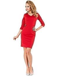 elomoda Kleid klassisch elegant V-Ausschnitt in 4 FarbenGr. 36 38 40 42, M182