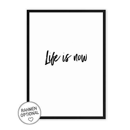 Life is now - Kunstdruck auf wunderbarem Hahnemühle Papier DIN A4 -ohne Rahmen- schwarz-weißes Bild Poster zur Dekoration im Büro/Wohnung/als Geschenk Mitbringsel zum Geburtstag etc.