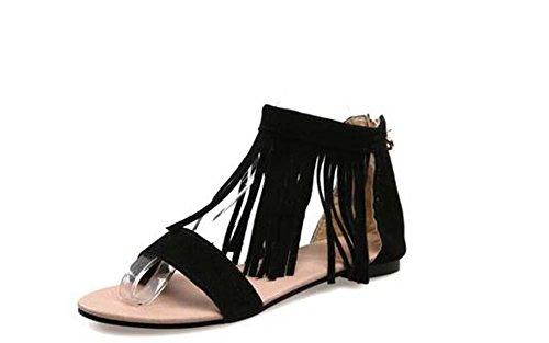 Beauqueen Sandales Femme Printemps Et Eté Plaine Tassel Femmes Noir Beige Loisirs Chaussures De Vacances Spécial Taille Europe Taille 30-46 Black