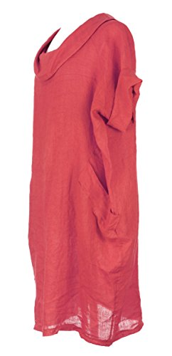 Mesdames Womens Lagenlook italienne manches courtes excentrique ronde collier 2 poche bouton arrière plaine lin robe Taille Plus Corail