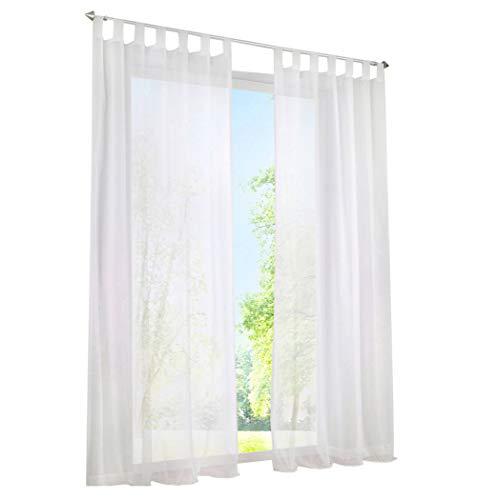 1er-Pack Gardine mit Schlaufen Vorhänge Transparent Voile Vorhang (BxH 140x145cm, weiß)