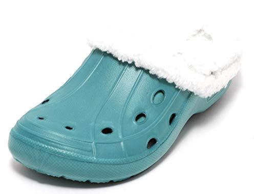 Zapato Mädchen Damen Clogs Winterclogs Sommerclogs mit und ohne Fell tragbar Petrol TÜRKIS Gr. 36-38 (38, Petrol)