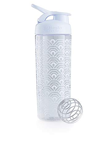 BlenderBottle Signature Sleek Shaker, Eiweiß Shaker , Wasserflasche , Protein Shaker mit Blenderball - White Clamshell (820ml) -