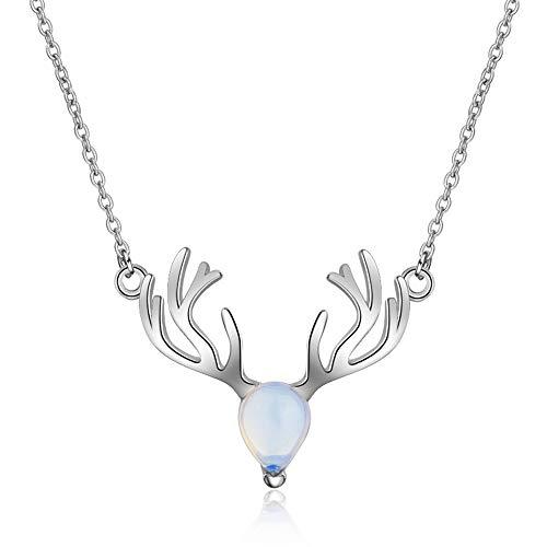 Joyería para Mujer Colgante de Piedra Lunar en Forma de pera Astas, Cadena de Plata Clavícula Collares para Mujer, Blanco