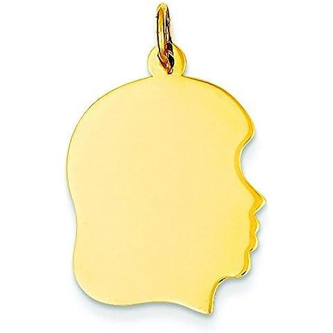 10K oro Plain Medium .018Gauge Facing Right Engravable Girl Head Charm–Oro superiore a 9C