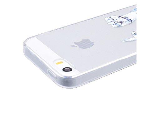 GrandEver Coque iPhone 5 / 5s / SE Silicone Gel TPU Transparente Souple Housse Protecteur avec Absorption Case avec Bumper Anti-Scratch Cover Etui pour iPhone 5 / 5s / SE (Plume Motif ) Doigt