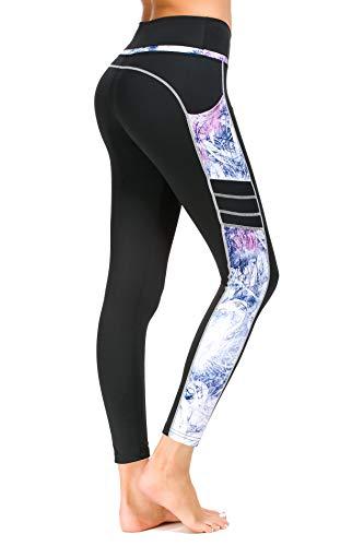 Munvot Damen Sporthose Sport leggings Tights, X1173-60(hellblaue Muster), L (DE40-42)