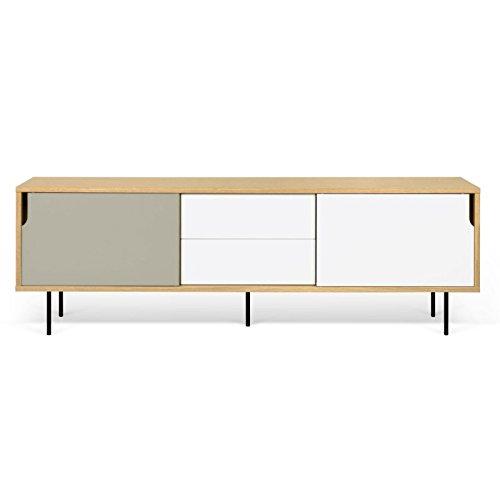 Paris Prix - Temahome - Meuble TV Design dann 201cm Chêne & Gris Mat