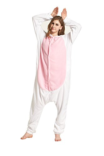 Fandecie Tier Kostüm Tierkostüm Tier Schlafanzug Hasen Kaninchen Pyjamas Jumpsuit Kigurumi Damen Herren Erwachsene Cosplay Tier Fasching Karneval Halloween (Weiß Hasen, M:Höhe 160-169cm)