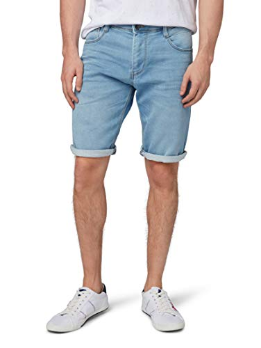 TOM TAILOR für Männer Jeanshosen Josh Regular Slim Bermuda Shorts Light Stone wash Denim, 30 Cord-bermuda