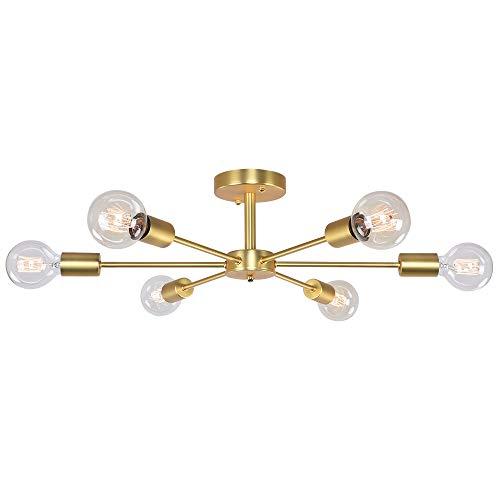OYI 6-Flammig Deckenleuchte Nordisch Kronleuchter Pendelleuchte E27 Lampenfassung Gold Metall für Wohnzimmer Schlafzimmer Esszimmer Balkon Restaurant Shop Bar