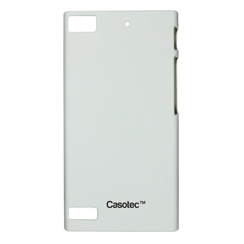 Casotec Ultra Slim Hard Shell Back Case Cover w/ Screen Protector for Blackberry Z3 - White